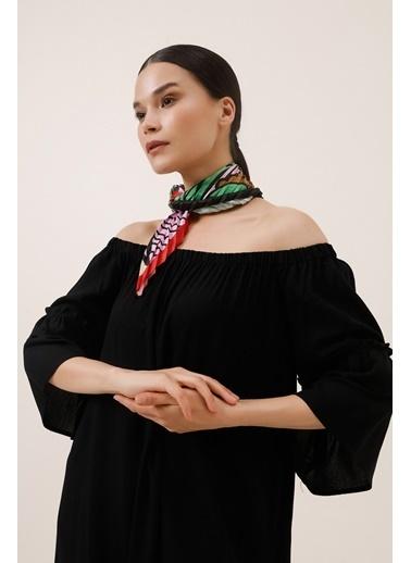 Gusto Omuzları Lastikli Volanlı Elbise - Siyah Omuzları Lastikli Volanlı Elbise - Siyah Siyah
